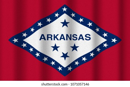 3D illustration with realistic texture and lighting depicting the flag of Arkansas