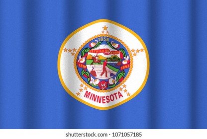 3D illustration with realistic texture and lighting depicting the flag of Minnesota