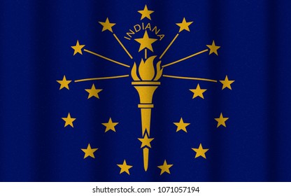 3D illustration with realistic texture and lighting depicting the flag of Indiana