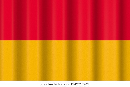 3D illustration with realistic texture and lighting depicting the flag of Burgenland