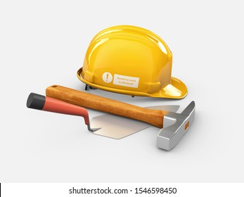 3d Illustration of Realistic Trowel with hammer and Helmet isolated on gray background