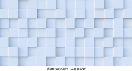 3d illustration. Realistic white solid cubes with a shadow of the same size, located in space at different levels. Abstract background of 3d cubes. Background of white cubes. 3d rendering.3 d panel