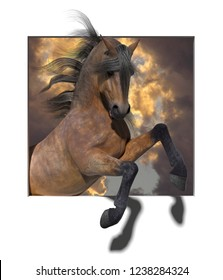 A 3d illustration of a rearing horse coming out of a square in a white background