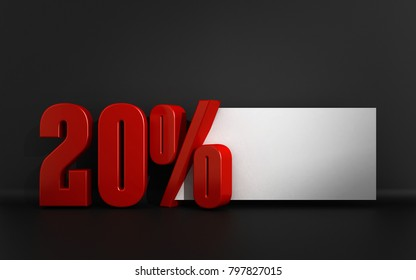 3D Illustration of a Red 20 Percent text over a Grey Background with a White Tag for the Special Message