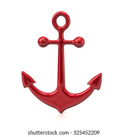 3d illustration of red anchor icon