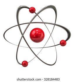3d illustration of red atom icon