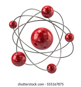 3d illustration of red atom molecule icon isolated on white background