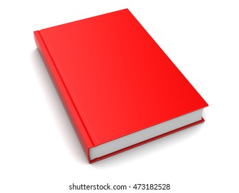 3d illustration of red book over white background
