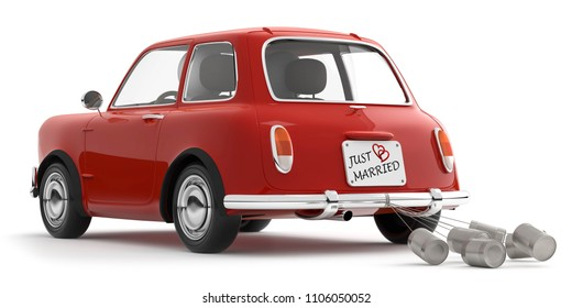 3D Illustration red Car just married