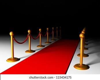 3d illustration: red carpet and golden fence