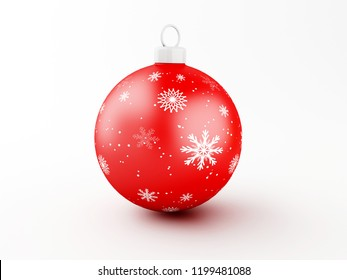 3d illustration. Red Christmas ball on white background. Traditional ornament happy winter holidays and Merry Christmas concept.