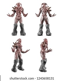 3d illustration of red colored hellish demon creature standing and posing with arms in different angles isolated on white background.