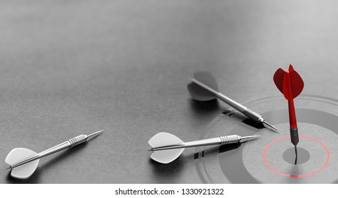 3D illustration of a red dart reaching the center of a target over grey background and other one failed to achieve goal. Concept of business or corporate success.