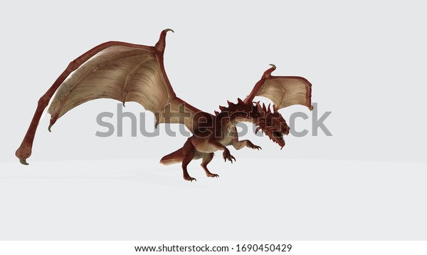 3d illustration of red dragon. 3D rendering of a red fairy tale dragon isolated on white background