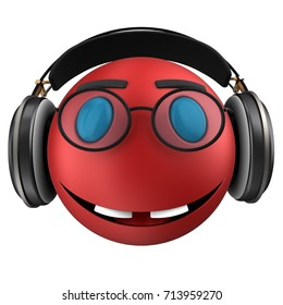 3d illustration of red emoticon smile with black headphones over white background