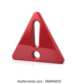 3d illustration of red exclamation danger sign isolated on white background