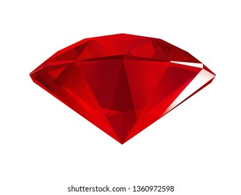 3d illustration. Red faceted gem isolated on white background. Bottom view.