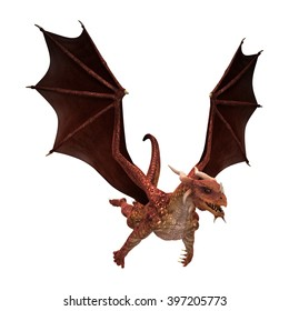 3D illustration of a red fantasy dragon isolated on white background
