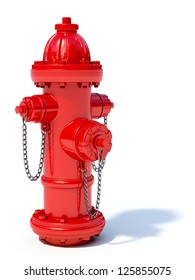 3d illustration of red fire hydrant isolated on white background