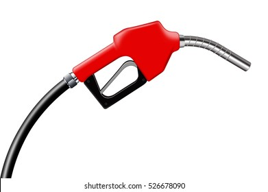 3D illustration red fuel nozzle on a white background