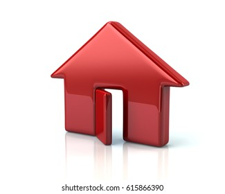 3d illustration of red house on white background