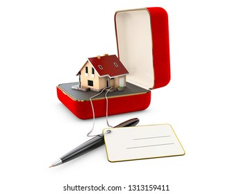 3d Illustration of red jewelry box with house isolated on white