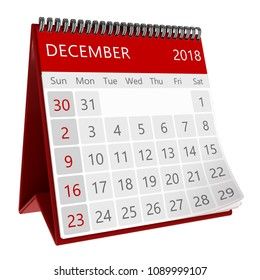 3d illustration of red monthly calendar isolated, page december 2018