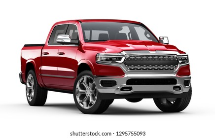 3D illustration of Red pickup truck isolated on white background
