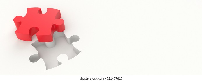 3D illustration - Red puzzle piece