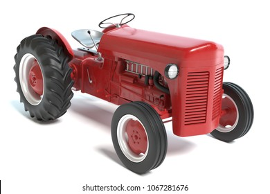 3d illustration of a red tractor