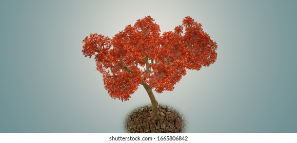 A 3D illustration of red tree