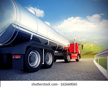 3d illustration of a red truck on asphalt road under blue sky