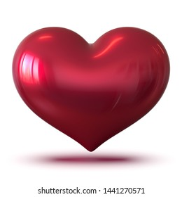 3d illustration of red valentine heart shape glossy, I Love You symbol blank. Valentine's Day romantic icon concept