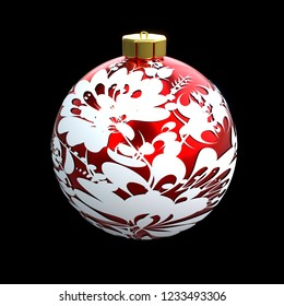 3d illustration red white christmas ball with petrykivka ornament on the black background isolated