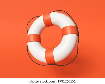 3D Illustration. Red and white lifebuoy ring on red background. Lifebuoy for safety.
