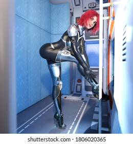 3D Illustration of a Redheaded Girl Putting on a Spacesuit