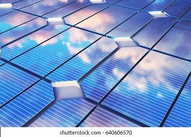 3D illustration reflection of the clouds on the photovoltaic cells. Blue solar panels on grass. Concept alternative electricity source. Eco energy, clean Energy