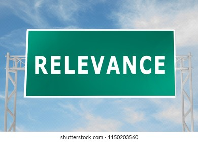 3D illustration of RELEVANCE script on road sign
