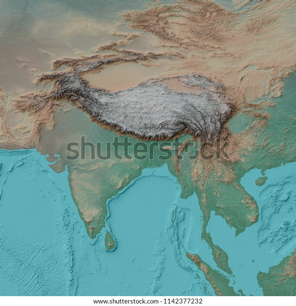 3d Illustration Relief Map Himalayas Tibetan Stock Illustration ...