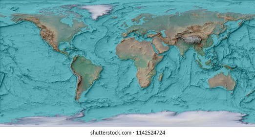 Relief Map Of The World.3 D Illustration Relief Map World Stock Illustration Royalty Free