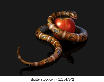 3D illustration render depicting a snake coiled around an apple (concept: temptation)