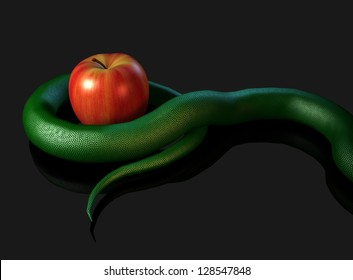 3D illustration render depicting a snake's tail coiled around an apple (concept: temptation)