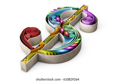 3D illustration, 3D render, 3D generating picture of swirly paper with dollar sign with depth of field