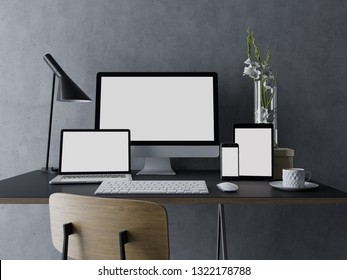 3d illustration render of mockup template of blank white screen for your web design portfolio on elegant workspace with workstation, tablet, laptop, and phone on trendy desk in straight front view