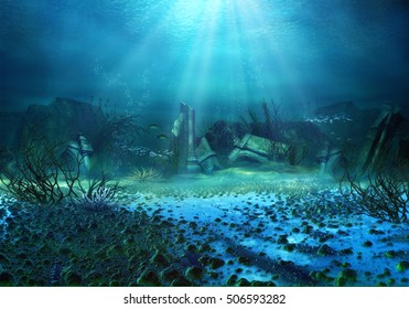 3D Illustration, 3D Rendered Underwater Fantasy Landscape