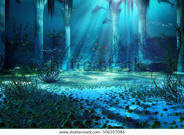 3D Illustration, 3D Rendered Underwater Fantasy Landscape