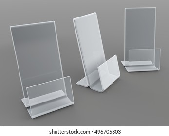 3D illustration, 3D rendering acrylic clear mock up Leaflet, Card, Brochure Holder in Isolated Background with Work Paths, Clipping Paths Included.