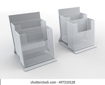 3D illustration, 3D rendering acrylic clear brochures holder with base in isolated background with work paths, clipping paths included.