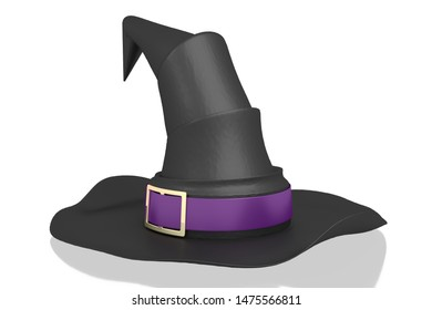 3D illustration/ 3D rendering - black witch hat with violet ribbon - isolated on white background