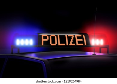 3D illustration/ 3D rendering - Blue and red police lights - Police (English)/ Polizei (German)